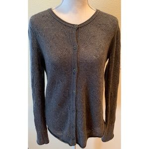 Inhabit Gray Cashmere Cardigan Sweater, Size Large